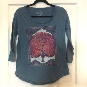 Lucky Brand 3/4 Sleeve Peacock Print Blue T-shirt
